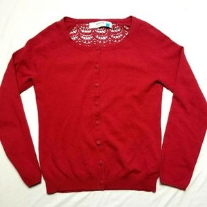 Anthropologie sparrow sweater red cardigan button